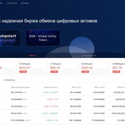 Главная страница биржи OKEx