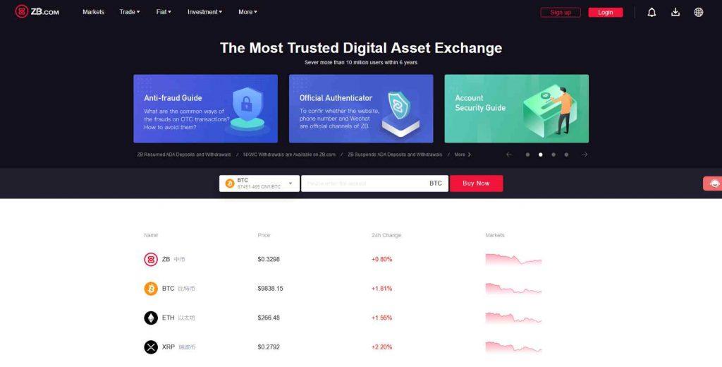 Обзор китайской биржи криптовалют ZB.COM